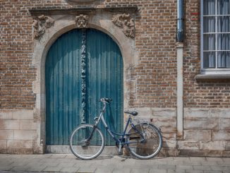 bicycle, wall, brick