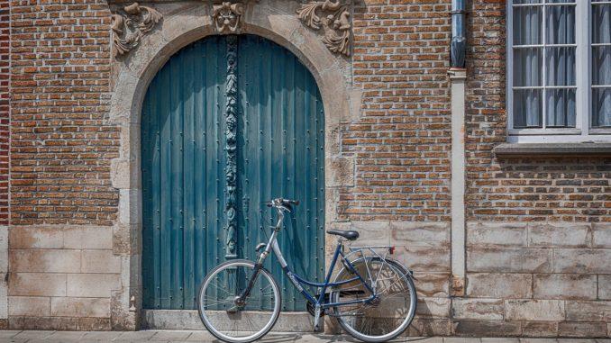 bicycle, wall, brick