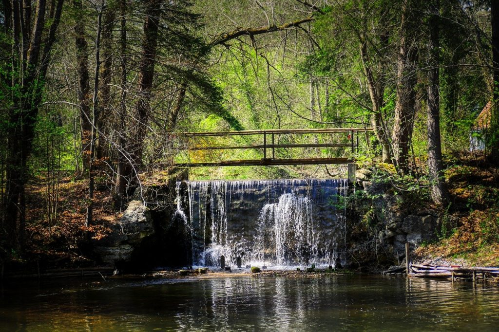 bridge, waterfall, barrage