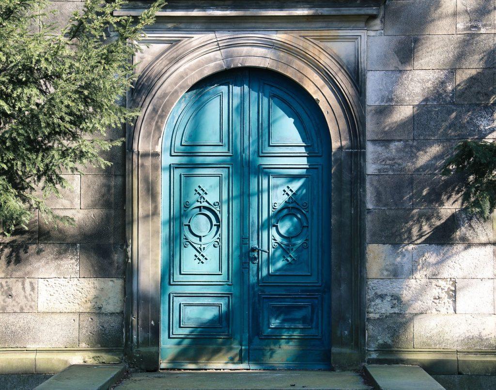 door, blue, wood